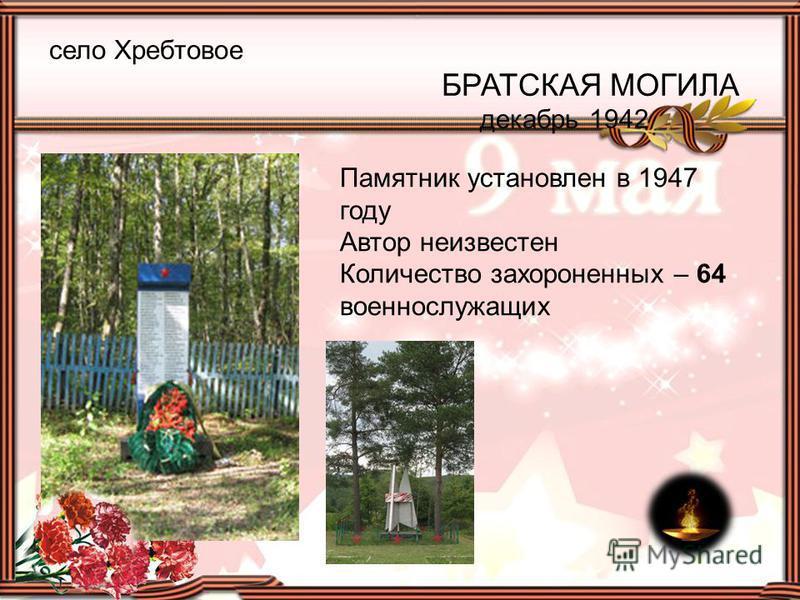 село Хребтовое БРАТСКАЯ МОГИЛА декабрь 1942 Памятник установлен в 1947 году Автор неизвестен Количество захороненных – 64 военнослужащих
