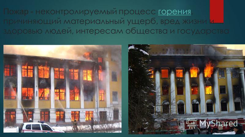 Пожар - неконтролируемый процесс горения, причиняющий материальный ущерб, вред жизни и здоровью людей, интересам общества и государства горения