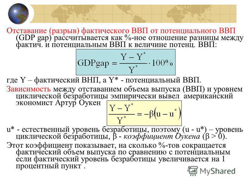 Отставание (разрыв) фактического ВВП от потенциииального ВВП (GDP gap) рассчитывается как %-ное отношение разницы между фактич. и потенциииальным ВВП к величине потенции. ВВП: где Y – фактический ВНП, а Y* - потенциииальный ВВП. Зависимость между отс