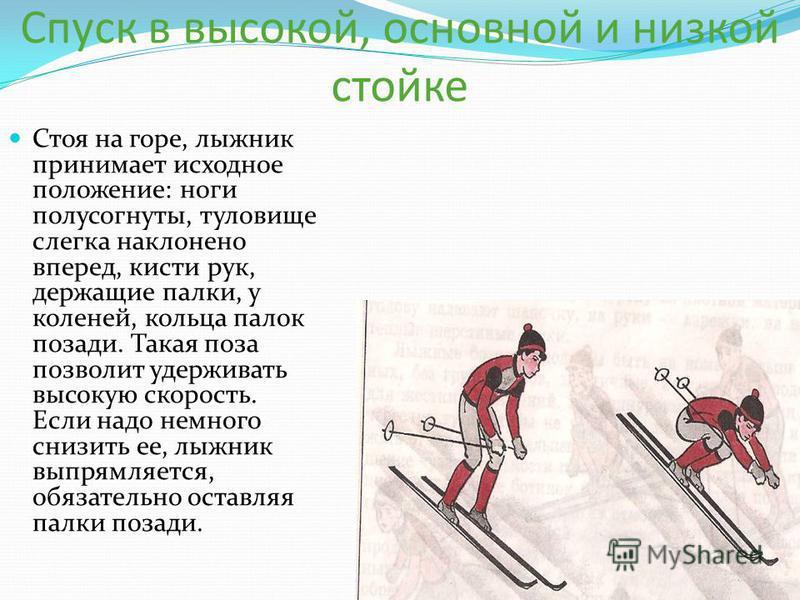 Спуск в высокой, основной и низкой стойке Стоя на горе, лыжник принимает исходное положение: ноги полусогнуты, туловище слегка наклонено вперед, кисти рук, держащие палки, у коленей, кольца палок позади. Такая поза позволит удерживать высокую скорост