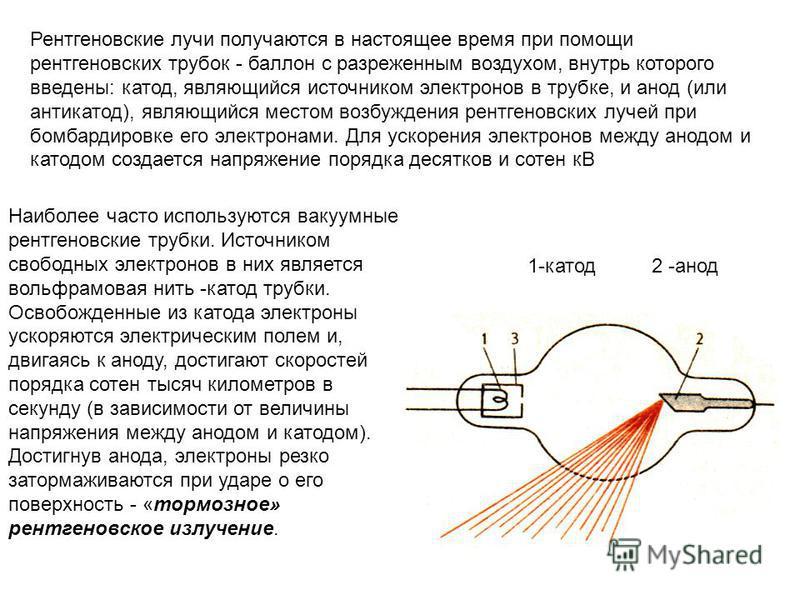 Рентгеновские лучи получаются в настоящее время при помощи рентгеновских трубок - баллон с разреженным воздухом, внутрь которого введены: катод, являющийся источником электронов в трубке, и анод (или антикатод), являющийся местом возбуждения рентгено
