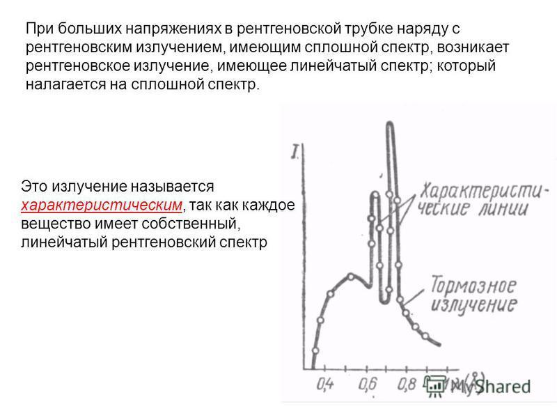 При больших напряжениях в рентгеновской трубке наряду с рентгеновским излучением, имеющим сплошной спектр, возникает рентгеновское излучение, имеющее линейчатый спектр; который налагается на сплошной спектр. Это излучение называется характеристически