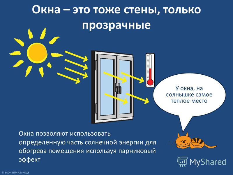 © ЗАО «ТПМ», МИКЦЭ Окна – это тоже стены, только прозрачные У окна, на солнышке самое теплое место Окна позволяют использовать определенную часть солнечной энергии для обогрева помещения используя парниковый эффект
