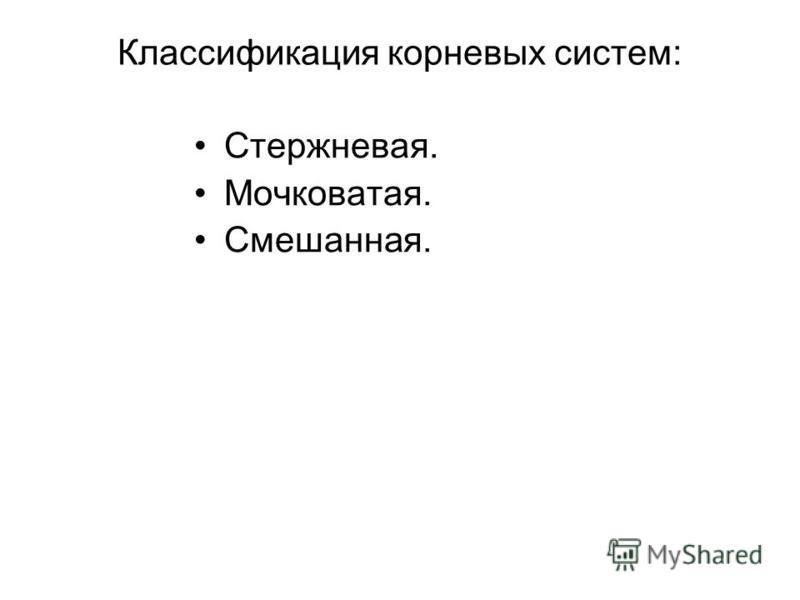 Классификация корневых систем: Стержневая. Мочковатая. Смешанная.
