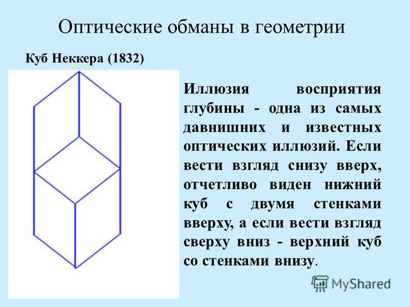 Оптические обманы в геометрии Иллюзия восприятия глубины - одна из самых давнишних и известных оптических иллюзий. Если вести взгляд снизу вверх, отчетливо виден нижний куб с двумя стенками вверху, а если вести взгляд сверху вниз - верхний куб со сте
