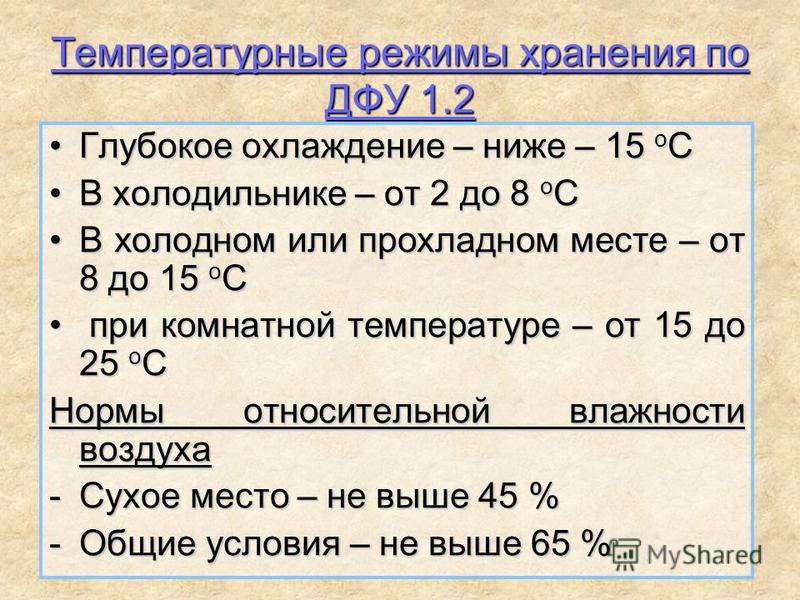 Температурные режимы хранения по ДФУ 1.2 Глубокое охлаждение – ниже – 15 о СГлубокое охлаждение – ниже – 15 о С В холодильнике – от 2 до 8 о СВ холодильнике – от 2 до 8 о С В холодном или прохладном месте – от 8 до 15 о СВ холодном или прохладном мес