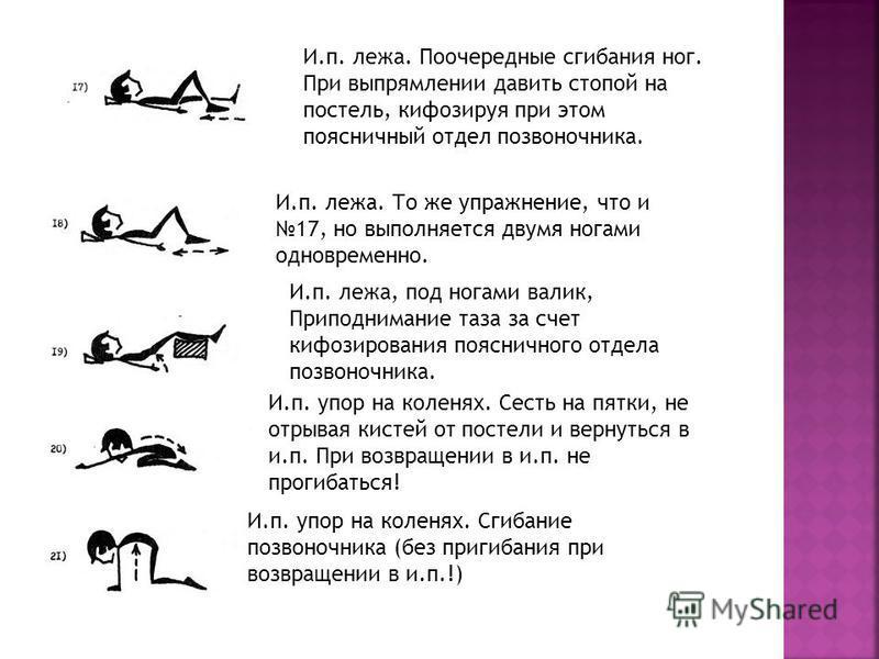 И.п. лежа. Поочередные сгибания ног. При выпрямлении давить стопой на постель, кифозируя при этом поясничный отдел позвоночника. И.п. лежа. То же упражнение, что и 17, но выполняется двумя ногами одновременно. И.п. лежа, под ногами валик, Приподниман