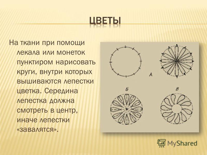 На ткани при помощи лекала или монеток пунктиром нарисовать круги, внутри которых вышиваются лепестки цветка. Середина лепестка должна смотреть в центр, иначе лепестки «завалятся».