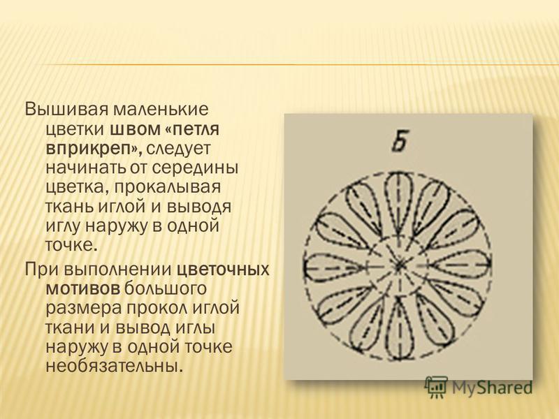 Вышивая маленькие цветки швом «петля вприкреп», следует начинать от середины цветка, прокалывая ткань иглой и выводя иглу наружу в одной точке. При выполнении цветочных мотивов большого размера прокол иглой ткани и вывод иглы наружу в одной точке нео