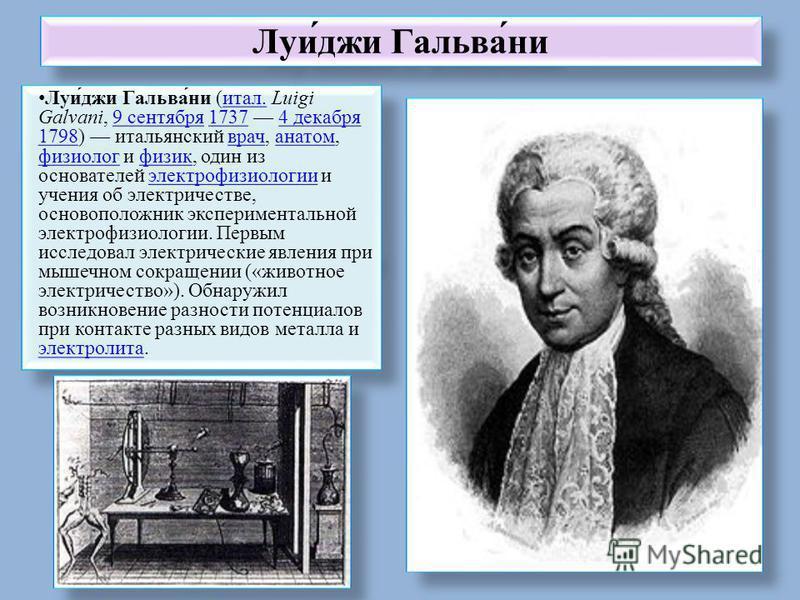 Луи́джи Гальва́ни Луи́джи Гальва́ни (итал. Luigi Galvani, 9 сентября 1737 4 декабря 1798) итальянский врач, анатом, физиолог и физик, один из основателей электрофизиологии и учения об электричестве, основоположник экспериментальной электрофизиологии.