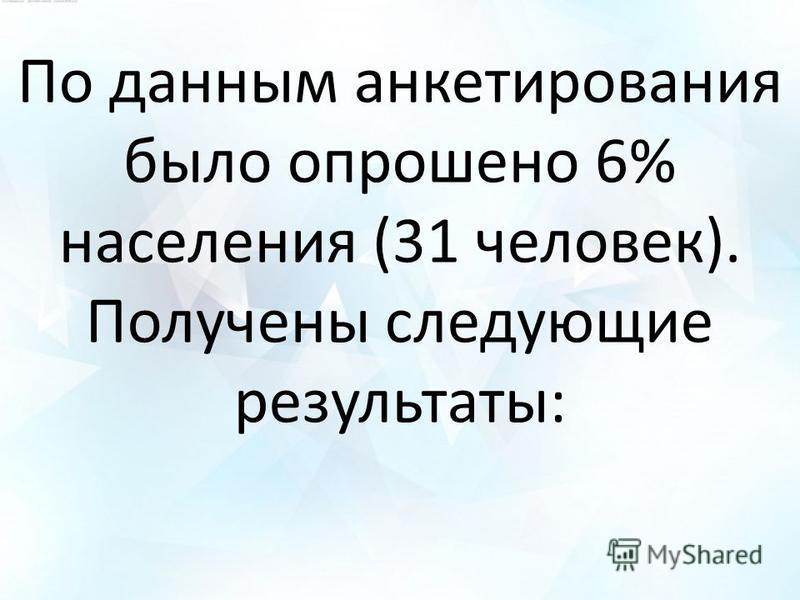 По данным анкетирования было опрошено 6% населения (31 человек). Получены следующие результаты:
