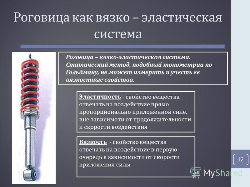 Роговица как вязко – эластическая система 12 Роговица – вязко-эластическая система. Статический метод, подобный тонометрии по Гольдману, не может измерить и учесть ее вязкостные свойства. Эластичность - свойство вещества отвечать на воздействие прямо