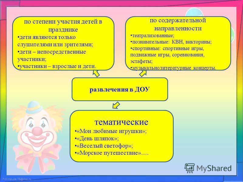 FokinaLida.75@mail.ru развлечения в ДОУ тематические «Мои любимые игрушки»; «День шляпок»; «Веселый светофор»; «Морское путешествие»…. по содержательной направленности театрализованные; познавательные: КВН, викторины; спортивные: спортивные игры, под