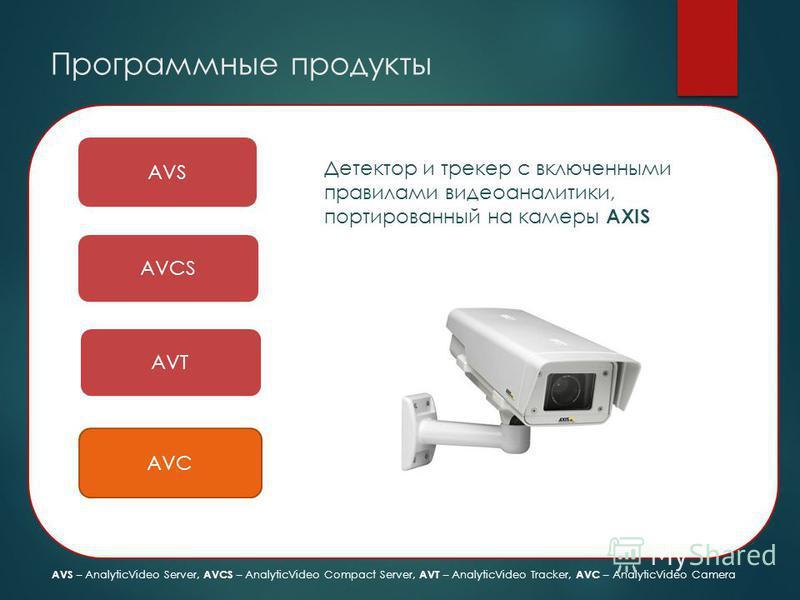 Программные продукты AVS AVCS AVT AVC Детектор и трекер с включенными правилами видео аналитики, портированный на камеры AXIS AVS – AnalyticVideo Server, AVCS – AnalyticVideo Compact Server, AVT – AnalyticVideo Tracker, AVC – AnalyticVideo Camera