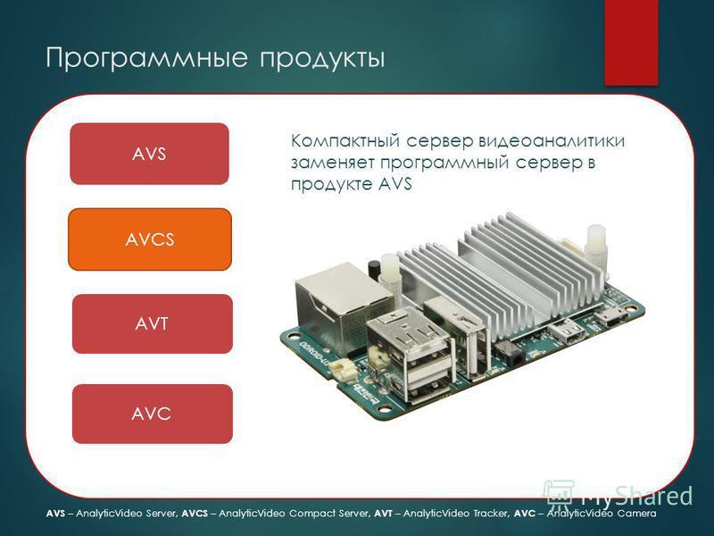 Программные продукты AVS AVCS AVT AVC Компактный сервер видео аналитики заменяет программный сервер в продукте AVS AVS – AnalyticVideo Server, AVCS – AnalyticVideo Compact Server, AVT – AnalyticVideo Tracker, AVC – AnalyticVideo Camera