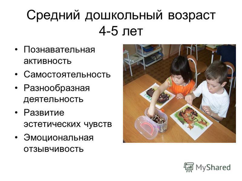 Средний дошкольный возраст 4-5 лет Познавательная активность Самостоятельность Разнообразная деятельность Развитие эстетических чувств Эмоциональная отзывчивость