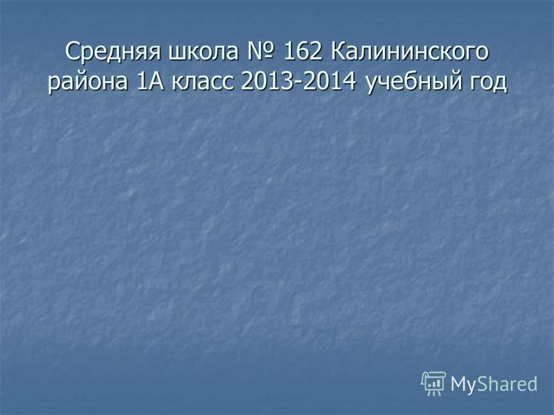 Средняя школа 162 Калининского района 1А класс 2013-2014 учебный год