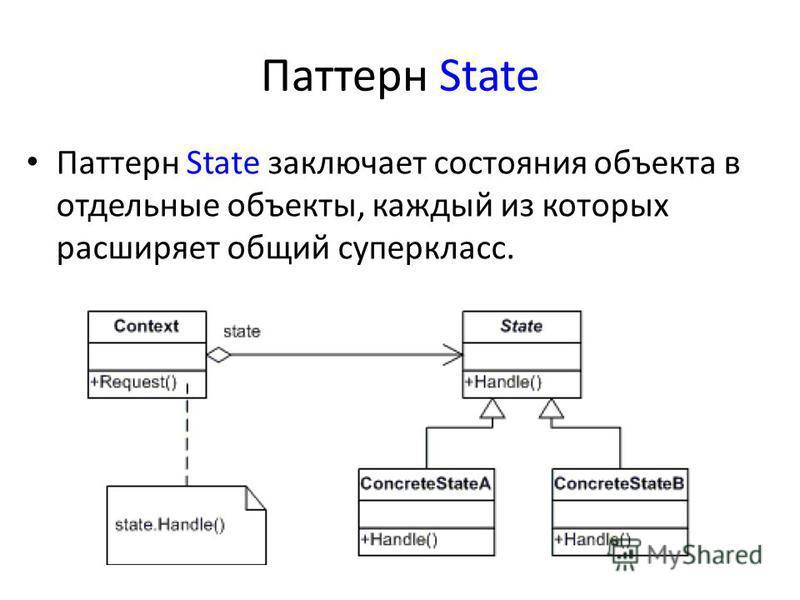 Паттерн State Паттерн State заключает состояния объекта в отдельные объекты, каждый из которых расширяет общий суперкласс.