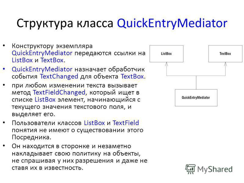 Структура класса QuickEntryMediator Конструктору экземпляра QuickEntryMediator передаются ссылки на ListBox и TextBox. QuickEntryMediator назначает обработчик события TextChanged для объекта TextBox. при любом изменении текста вызывает метод TextFiel
