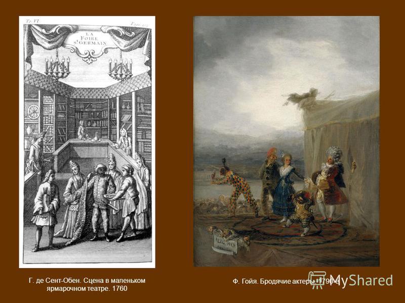 Г. де Сент-Обен. Сцена в маленьком ярмарочном театре. 1760 Ф. Гойя. Бродячие актеры. 1790-е