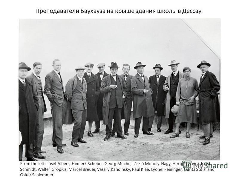 From the left: Josef Albers, Hinnerk Scheper, Georg Muche, László Moholy-Nagy, Herbert Bayer, Joost Schmidt, Walter Gropius, Marcel Breuer, Vassily Kandinsky, Paul Klee, Lyonel Feininger, Gunta Stölzl and Oskar Schlemmer