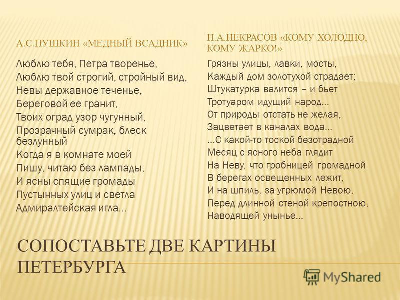 СОПОСТАВЬТЕ ДВЕ КАРТИНЫ ПЕТЕРБУРГА А.С.ПУШКИН «МЕДНЫЙ ВСАДНИК» Н.А.НЕКРАСОВ «КОМУ ХОЛОДНО, КОМУ ЖАРКО!» Люблю тебя, Петра творенье, Люблю твой строгий, стройный вид, Невы державное теченье, Береговой ее гранит, Твоих оград узор чугунный, Прозрачный с