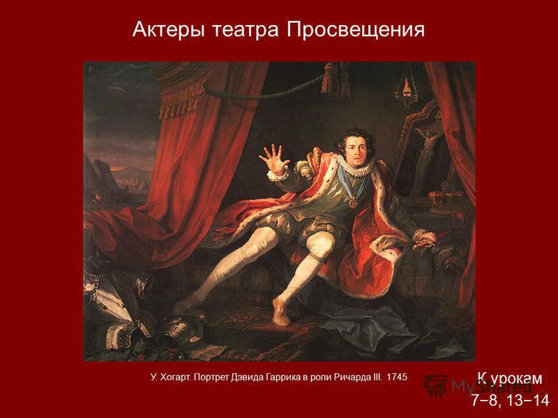 Актеры театра Просвещения К урокам 78, 1314 У. Хогарт. Портрет Дэвида Гаррика в роли Ричарда III. 1745