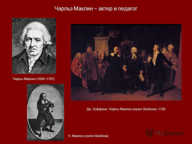 Чарльз Маклин (16901797) Дж. Зоффани. Чарльз Маклин играет Шейлока. 1768 Чарльз Маклин актер и педагог Ч. Маклин в роли Шейлока