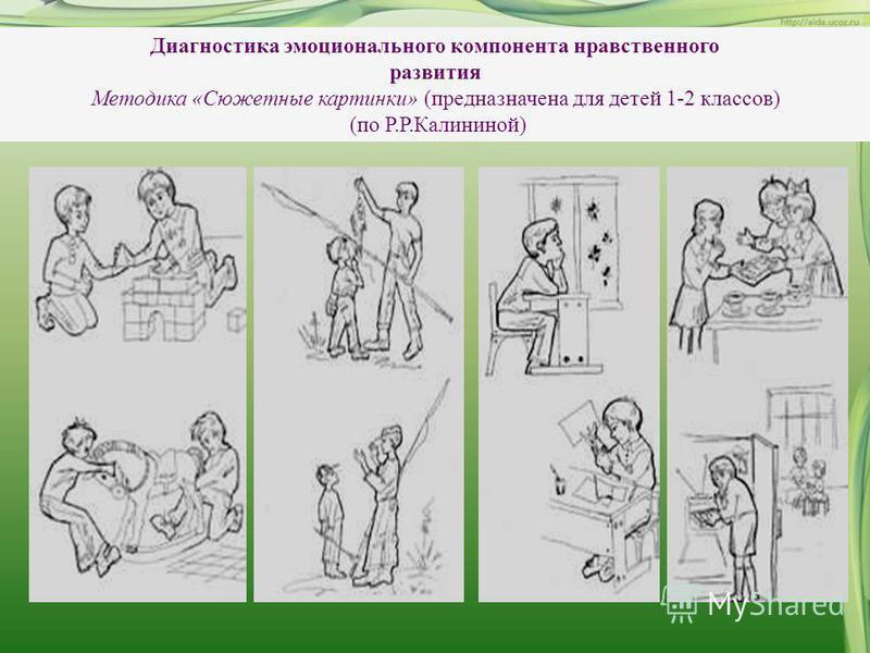 Диагностика эмоционального компонента нравственного развития Методика «Сюжетные картинки» (предназначена для детей 1-2 классов) (по Р.Р.Калининой)
