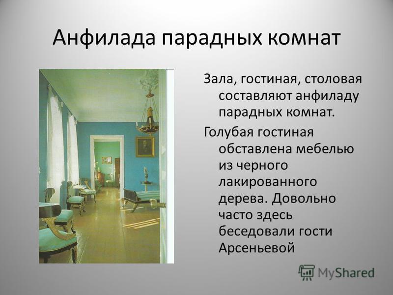 Анфилада парадных комнат Зала, гостиная, столовая составляют анфиладу парадных комнат. Голубая гостиная обставлена мебелью из черного лакированного дерева. Довольно часто здесь беседовали гости Арсеньевой