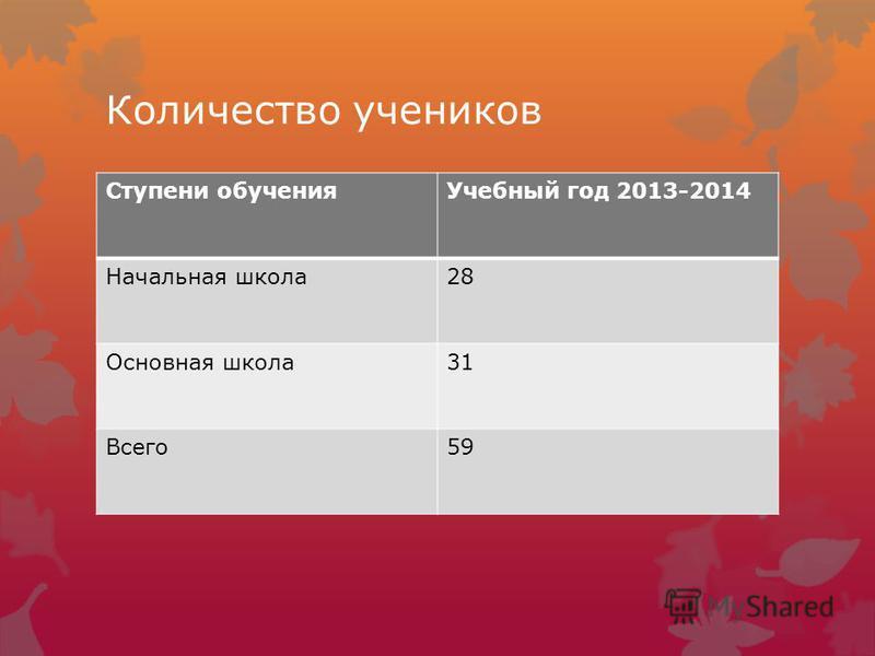 Количество учеников Ступени обучения Учебный год 2013-2014 Начальная школа 28 Основная школа 31 Всего 59