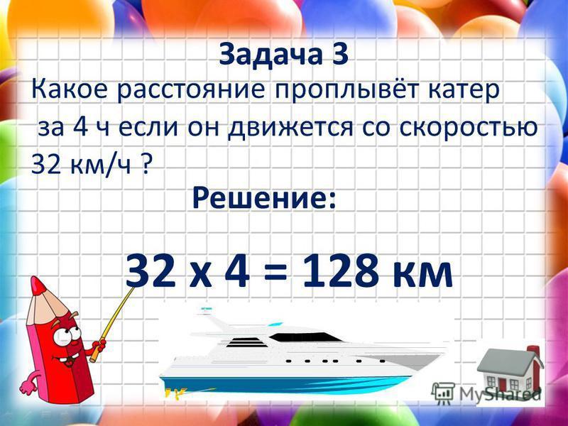 Задача 3 Какое расстояние проплывёт катер за 4 ч если он движется со скоростью 32 км/ч ? Решение: 32 х 4 = 128 км
