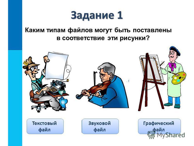 Каким типам файлов могут быть поставлены в соответствие эти рисунки? Проверка Текстовый файл Звуковой файл Графический файл Задание 1