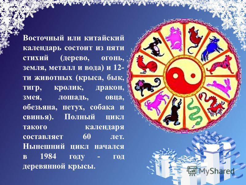 Восточный или китайский календарь состоит из пяти стихий (дерево, огонь, земля, металл и вода) и 12- ти животных (крыса, бык, тигр, кролик, дракон, змея, лошадь, овца, обезьяна, петух, собака и свинья). Полный цикл такого календаря составляет 60 лет.