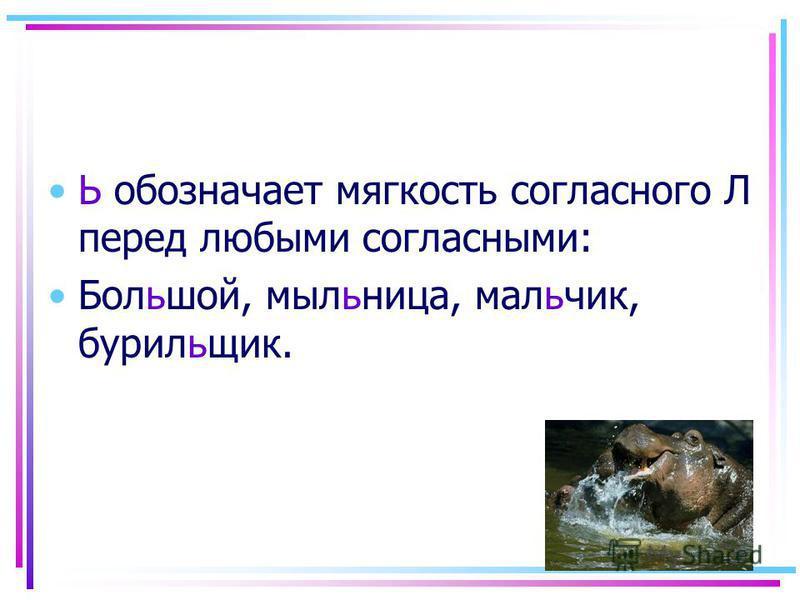 Ь обозначает мягкость согласного Л перед любыми согласными: Большой, мыльница, мальчик, бурильшик.