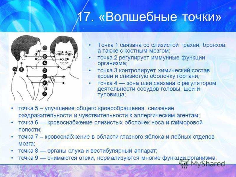 17. «Волшебные точки» Точка 1 связана со слизистой трахеи, бронхов, а также с костным мозгом; точка 2 регулирует иммунные функции организма; точка 3 контролирует химический состав крови и слизистую оболочку гортани; точка 4 зона шеи связана с регулят