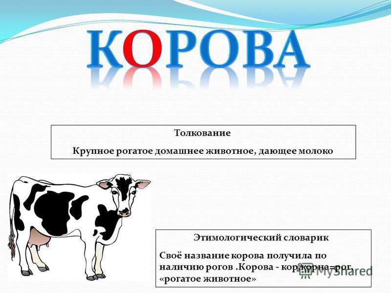 Этимологический словарик Своё название корова получила по наличию рогов.Корова - кор,корна=рог, «рогатое животное» Толкование Крупное рогатое домашнее животное, дающее молоко
