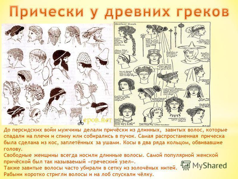 До персидских войн мужчины делали причёски из длинных, завитых волос, которые спадали на плечи и спину или собирались в пучок. Самая распространенная прическа была сделана из кос, заплетённых за ушами. Косы в два ряда кольцом, обвивавшие голову. Своб