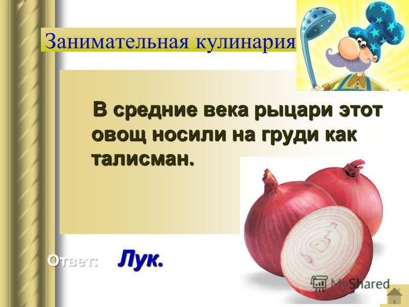 Занимательная кулинария В средние века рыцари этот овощ носили на груди как талисман. В средние века рыцари этот овощ носили на груди как талисман.