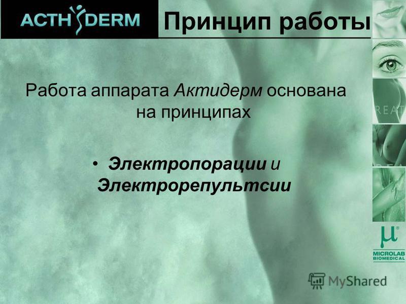 Принцип работы Работа аппарата Актидерм основана на принципах Электропорации и Электрорепультсии