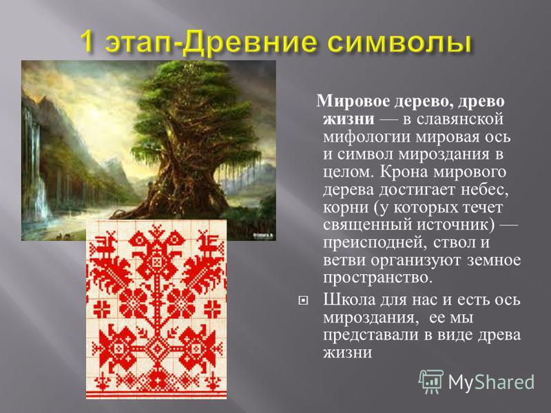 Мировое дерево, древо жизни в славянской мифологии мировая ось и символ мироздания в целом. Крона мирового дерева достигает небес, корни ( у которых течет священный источник ) преисподней, ствол и ветви организуют земное пространство. Школа для нас и