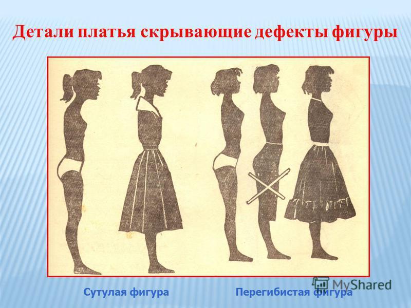 Детали платья скрывающие дефекты фигуры Сутулая фигура Перегибистая фигура