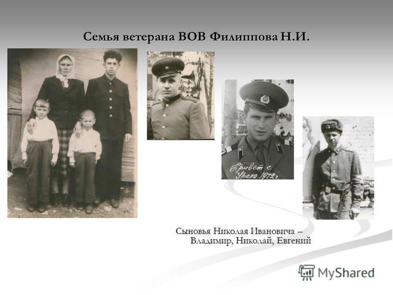 Семья ветерана ВОВ Филиппова Н.И. Сыновья Николая Ивановича – Владимир, Николай, Евгений