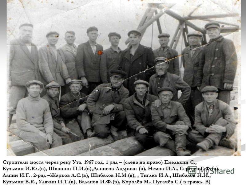 Строители моста через реку Ута. 1967 год. 1 ряд – (слева на право) Емелькин С., Кузьмин И.Кл.(в), Шакшин П.И.(в),Денисов Андриян (в), Немов И.А., Сергеев Г.Ф.(в), Лапин И.Г.. 2-ряд –Жарков Л.С.(в), Шибалов Н.М.(в),, Тиглев И.А., Шибалов Н.И., Кузьмин