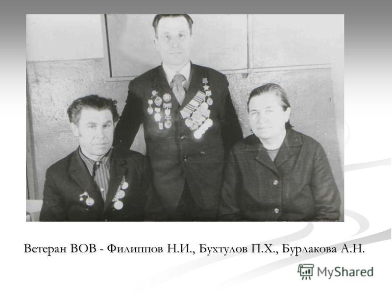 Ветеран ВОВ - Филиппов Н.И., Бухтулов П.Х., Бурлакова А.Н.