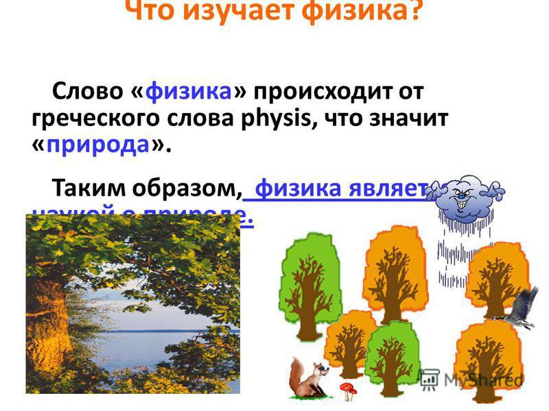 Что изучает физика? Слово «физика» происходит от греческого слова physis, что значит «природа». Таким образом, физика является наукой о природе.
