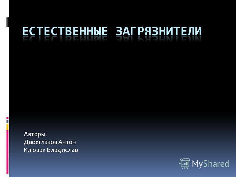Авторы: Двоеглазов Антон Клювак Владислав
