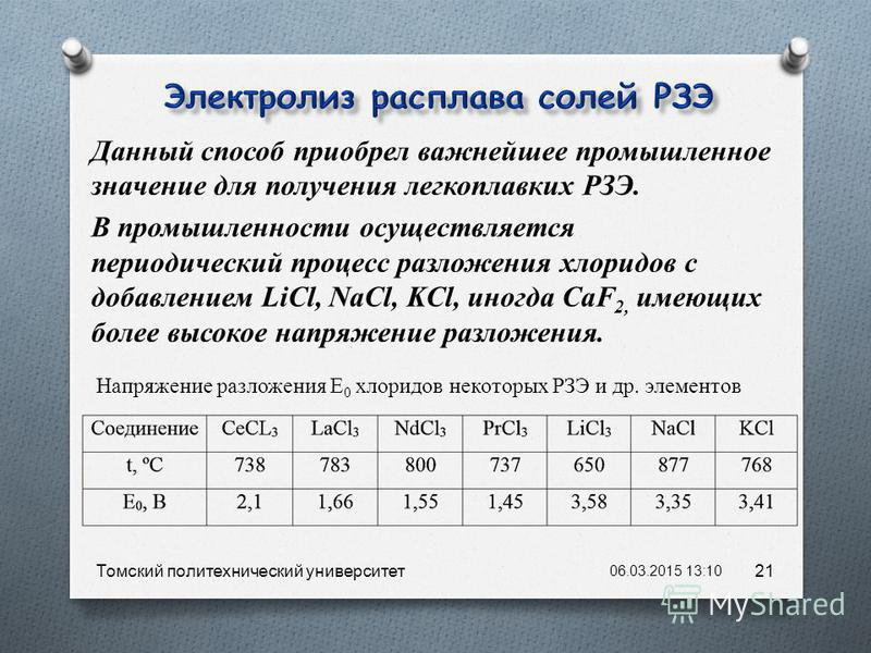 Данный способ приобрел важнейшее промышленное значение для получения легкоплавких РЗЭ. В промышленности осуществляется периодический процесс разложения хлоридов с добавлением LiCl, NaCl, KCl, иногда CaF 2, имеющих более высокое напряжение разложения.