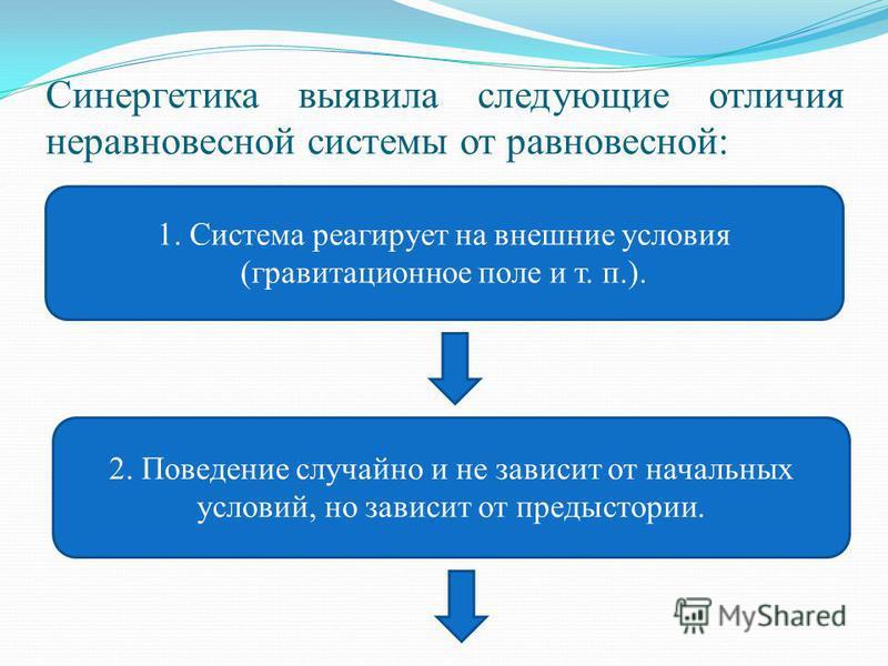 Синергетика выявила следующие отличия неравновесной системы от равновесной: 1. Система реагирует на внешние условия (гравитационное поле и т. п.). 2. Поведение случайно и не зависит от начальных условий, но зависит от предыстории.