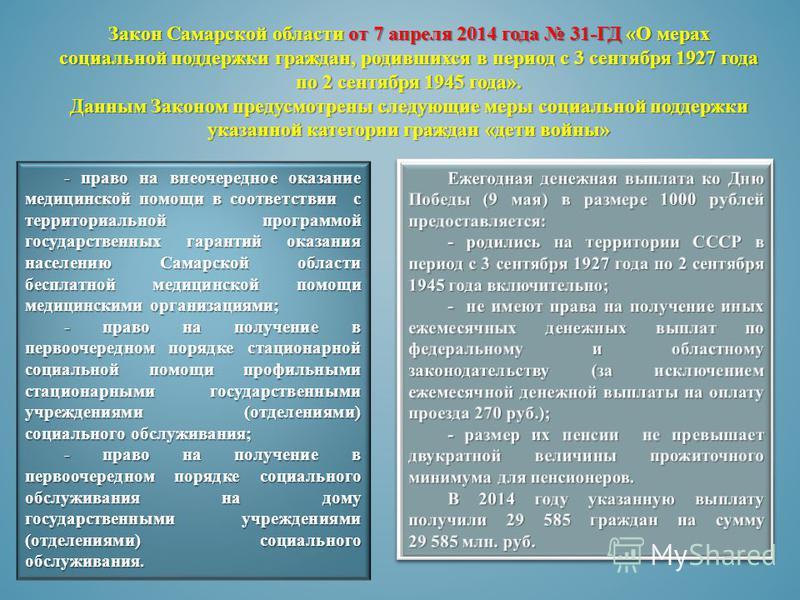 Закон Самарской области от 7 апреля 2014 года 31-ГД «О мерах социальной поддержки граждан, родившихся в период с 3 сентября 1927 года по 2 сентября 1945 года». Данным Законом предусмотрены следующие меры социальной поддержки указанной категории гражд